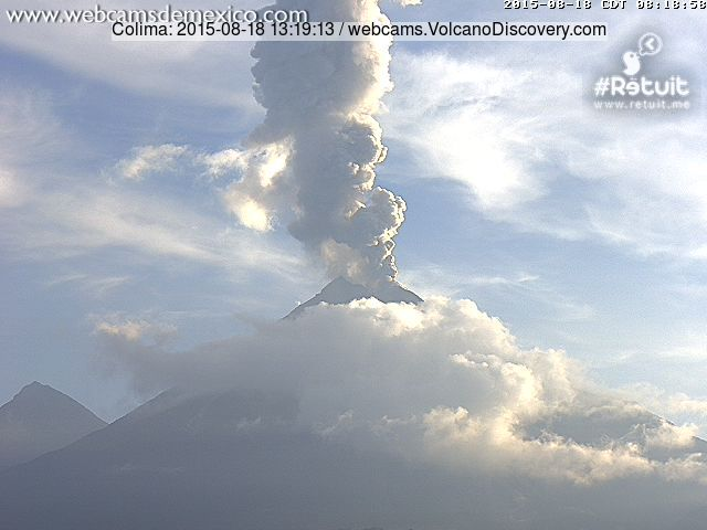 Eruption column about 2 km high from an explosion at Colima today