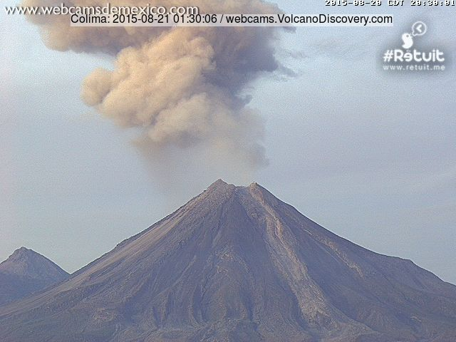 Ash plume from Colima this morning