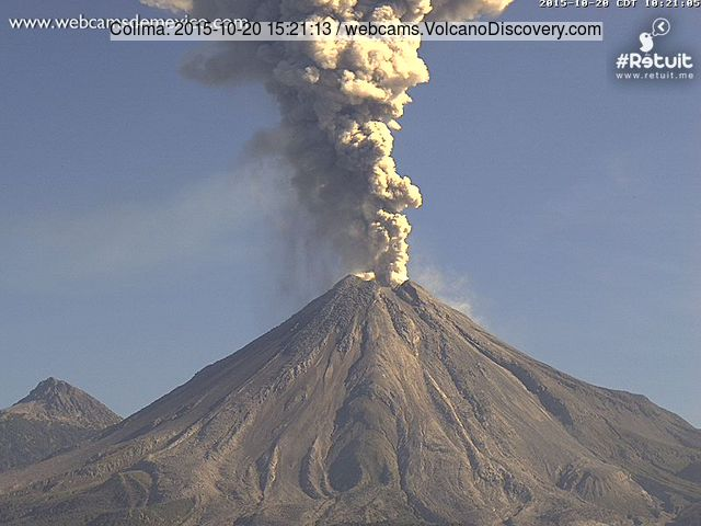 Ash column from an explosion at Colima volcano today