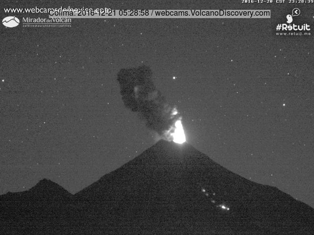 Eruption at Colima last night