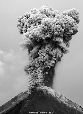 Eruption column from an explosion at Colima on 9 Aug (photo: Hernando Rivera / facebook)