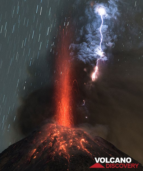 Eruption of Colima volcano with spectacular lightning on 3 Jan 2016