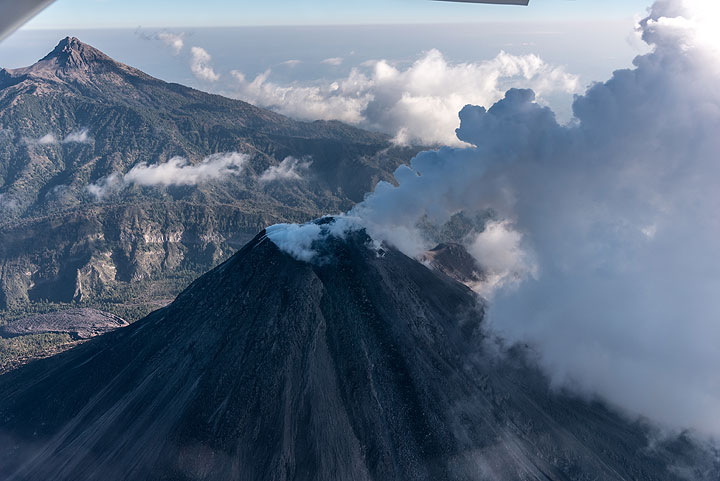 View from high above Colima's summit with Nevado in the background.