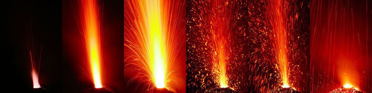 """Sequence of an eruption from the NE crater (the one to the """"left""""), showing the purple-colored gas jet (combustion of hydrogene and methane?) that typically occurred just moments before incandescent lava itself was thrown out in very powerful fountains, sometimes lasting 10-20 seconds. (28 June)"""