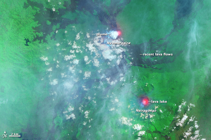 This satellite image from 30 June shows lava lakes and gas plumes from Nyamuragira and Nyiragongo Volcanoes. Landsat 8 image, published by NASA Earth Observatory