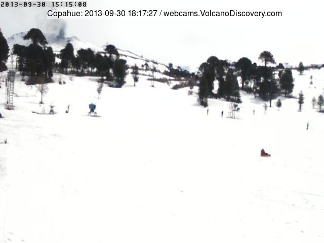 Ash emission from Copahue yesterday (Caviahue webcam)