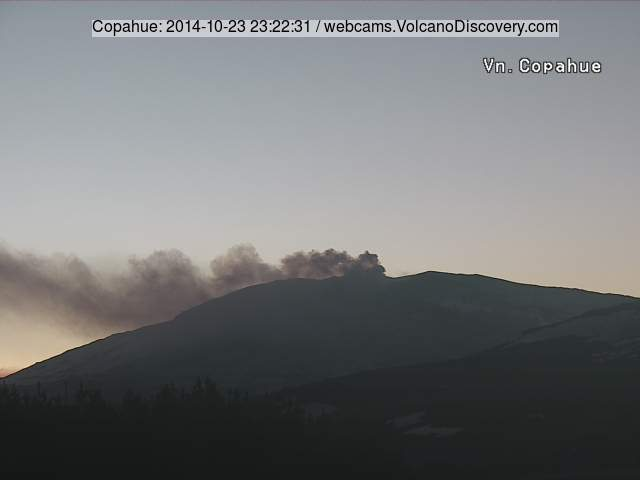 Ash emission from Copahue last evening