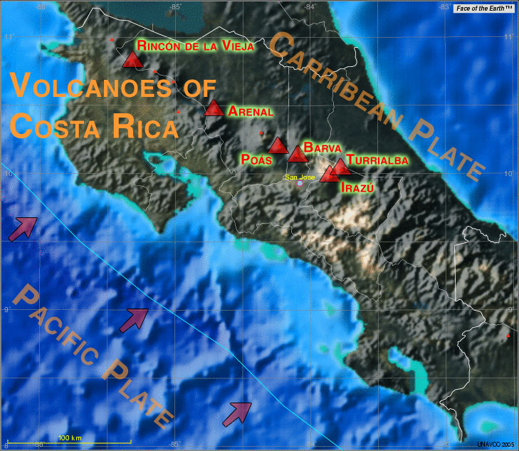 Map showing Costa Rica's most active volcanoes and the location of the plate boundary between the subducting Pacific and the overriding Carribean plate. (Base map created using Jules Verne UNAVCO map tool featuring Face of the Earth (TM)).