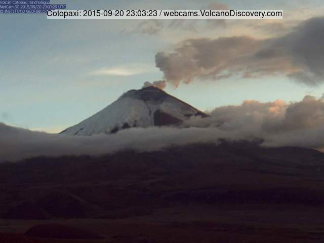 Ash plume from Cotopaxi last evening