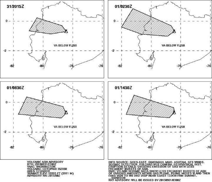 Ash plume dispersal forecast (1-2 Sep / VAAC Washington)