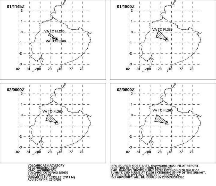 Ash plume dispersal forecast (31 Aug - 1 Sep / VAAC Washington)