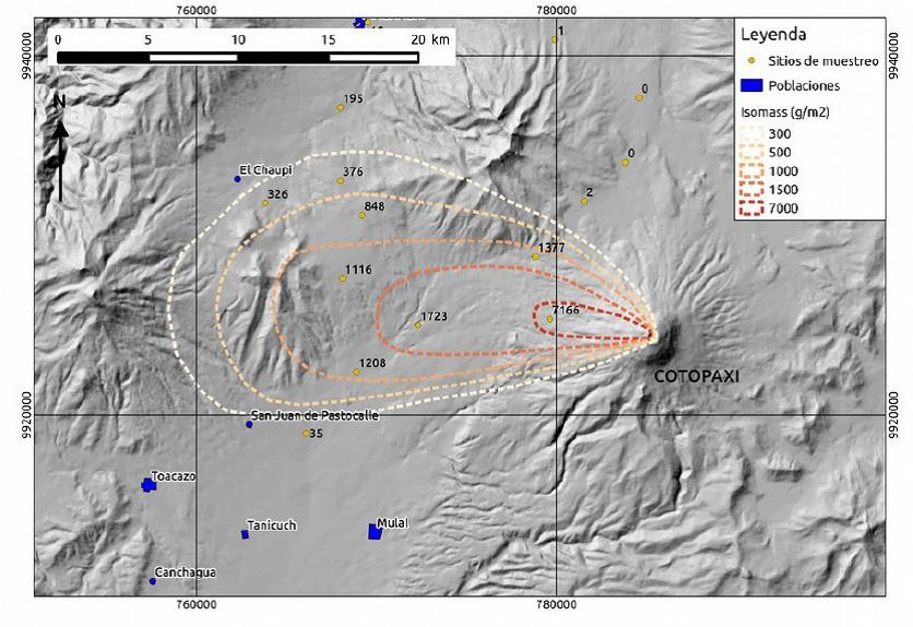 Map of ash fall from Cotopaxi (IGEPN)