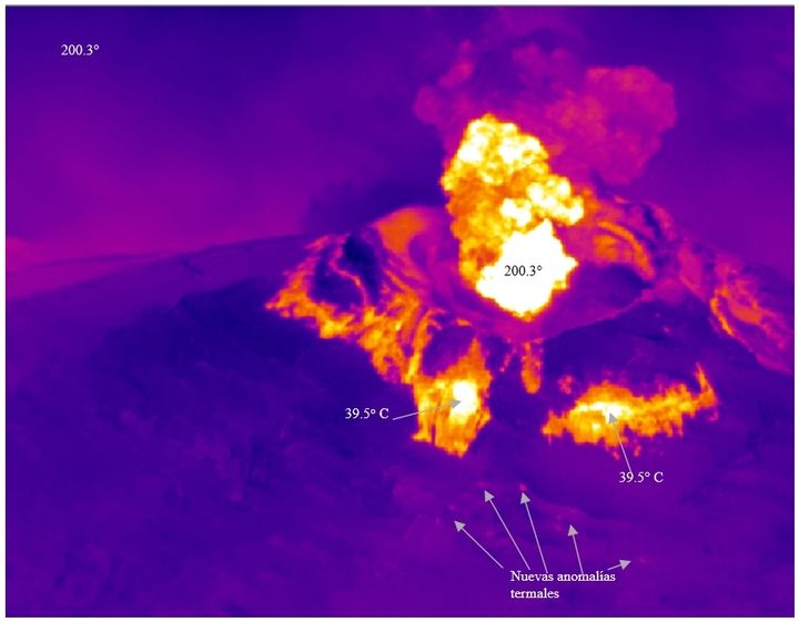 Thermal image of Cotopaxi's crater on 3 Sep (image:  P. Ramón IG/EPN)