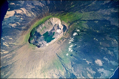 NASA image of La Cumbre volcano, Fernandia Island, taken from the International Space Station in 2002.
