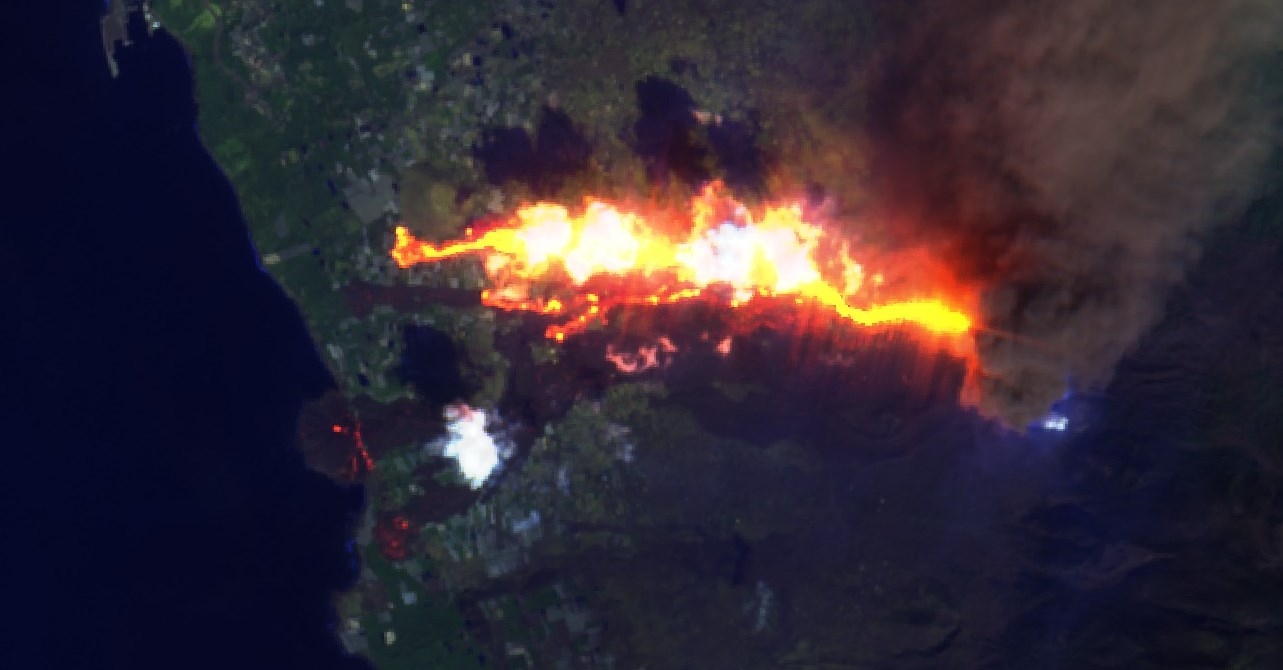 Sentinel satellite image of lava flows as of 15 Oct 2021
