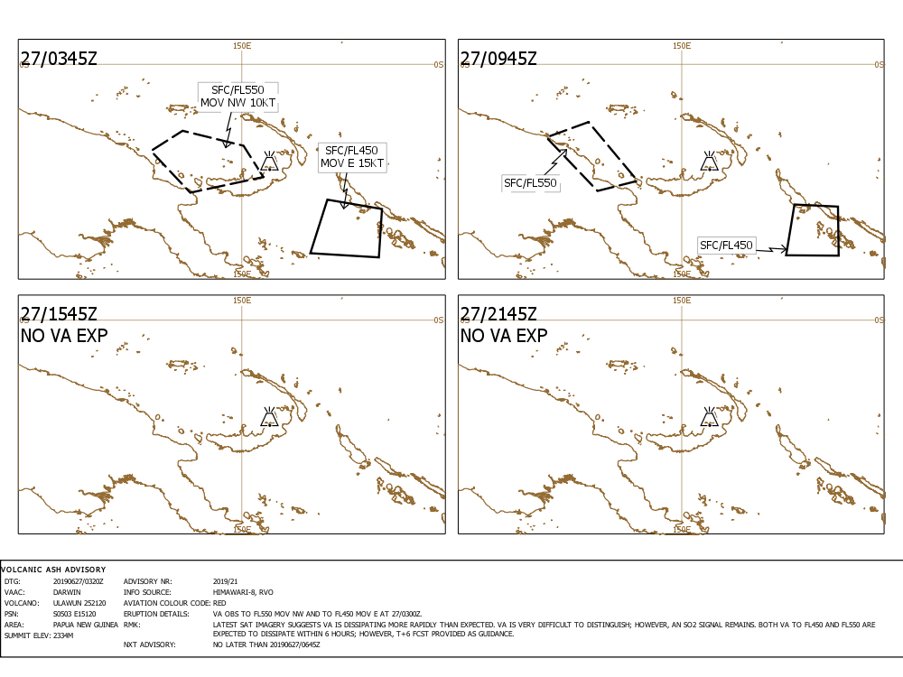 Current ash cloud forecast for the remnant ash ejected during the major eruption of Ulawun volcano yesterday (image: VAAC Darwin)