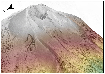 Digital model of the eruptive cone at the volcano (image: @Pg_Scarlato/twitter)