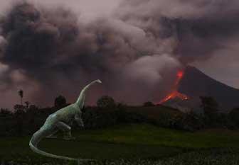 Artist' impression of Diplodocus dinosaur near volcanic eruption.