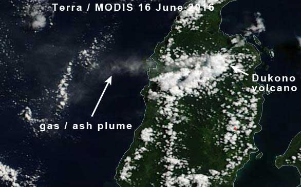 Ash plume from Dukono this morning (Terra / MODIS)