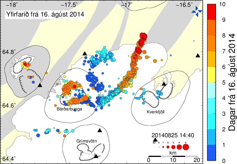 Map indicating all earthquakes that occured since 16 August, showing their spatial migration in the last 10 days (red = today)