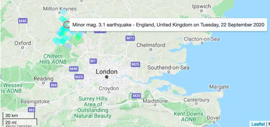 Location of today's quake in England