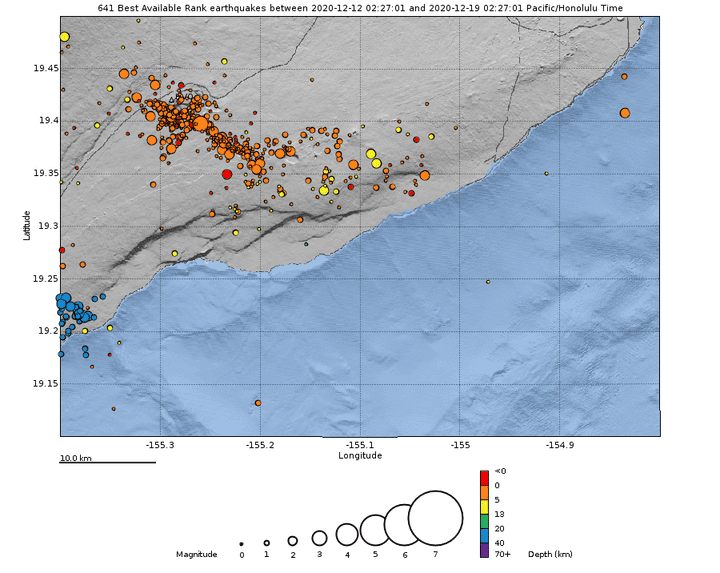 Earthquakes at Kilauea during the past week (image: HVO)