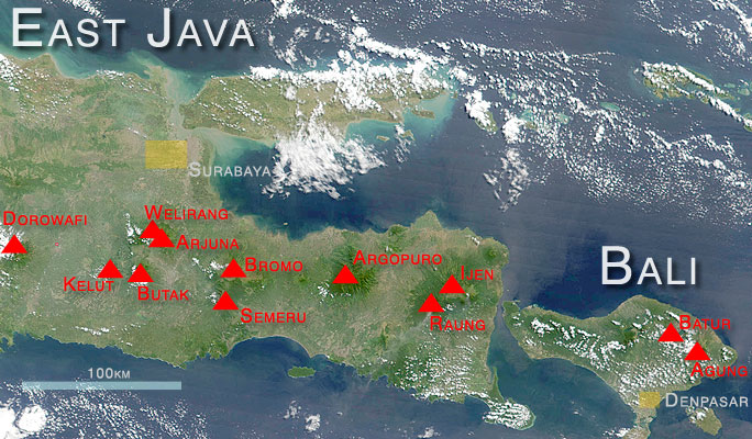 Location map of major active volcanoes in East Java and on Bali (satellite image: NASA).
