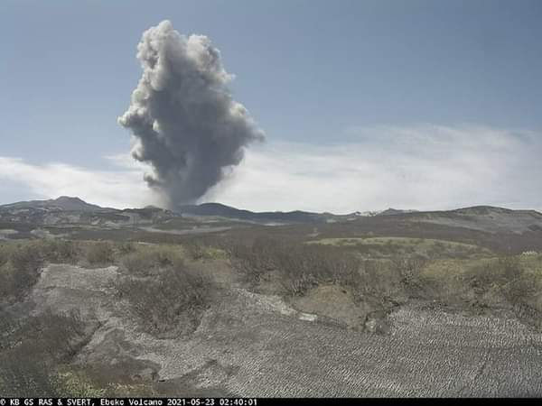 The eruption from Ebeko volcano on 23 May (image: KVERT)