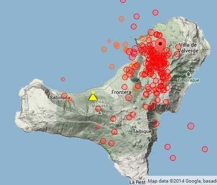 Location of earthquakes under El Hierro since yesterday