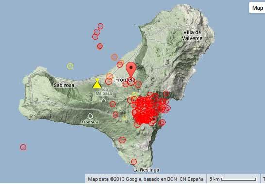 Map of recent earthquakes under El Hierro