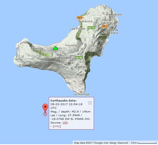 Location of last night's earthquake near La Restinga (El Hierro)
