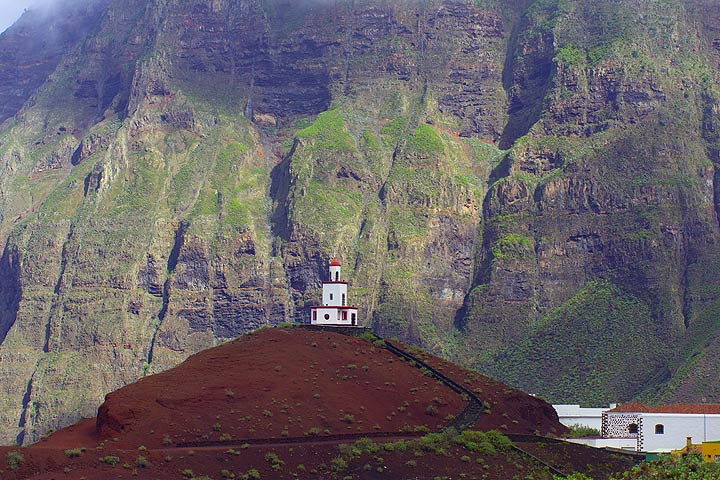 Lighthouse-church Virgen de Candelaria, La Frontera, sitting on a relatively young cinder cone.