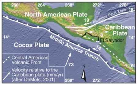 Tectonic setting of El Salvador (from: Agostini et al, 2006)