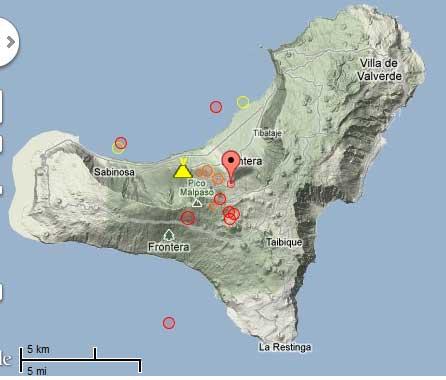 Map of recent earthquakes at El Hierro