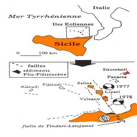 Localisation géographique de l'archipel éolien avec ses 7 îles volcaniques