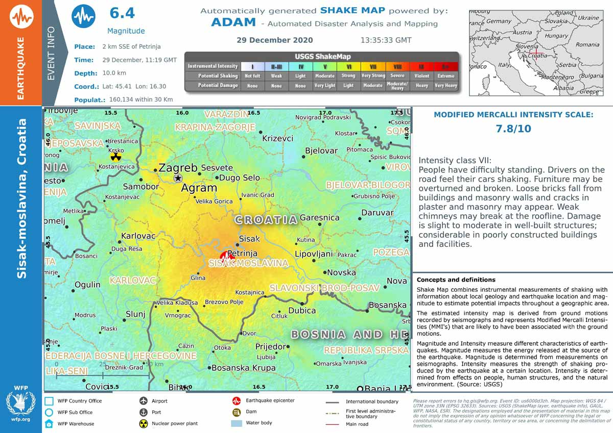 Revised shake map published by reliefweb