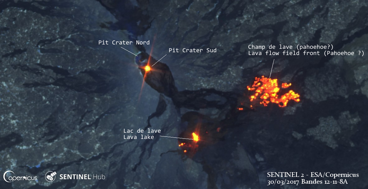 Erta Ale's eruption on SENTINEL 2 satellite imagery on March 30th (image: SENTINEL2 / ESA-Copernicus data; Composition / annotations: Culture Volcan)