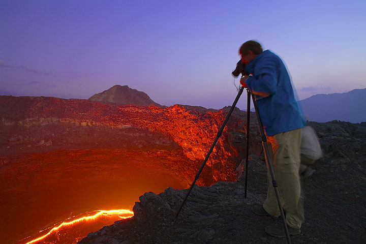Frank working at the lava lake of Erta Ale volcano, Ethiopia
