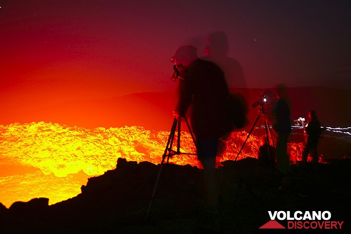 Observing Erta Ale's lava lake at night
