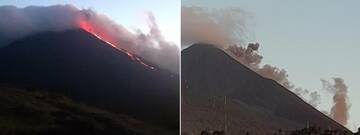 The lava flow on S-SW flank generated a small avalanche that lifted ash plumes as it descended the slope (image: INSIVUMEH)