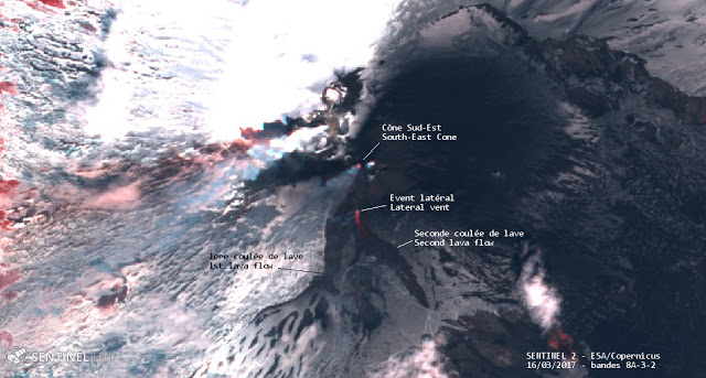 Satellite image of Etna on 16 March 2017 (image: SENTINEL 2 - ESA/Copernicus; annotations: Culture Volcan)