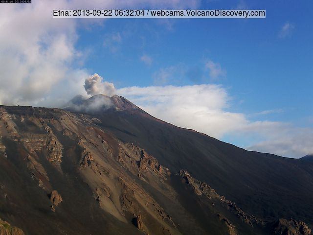 Small ash eruption from the New SE crater this morning (Etna-Trekking webcam)