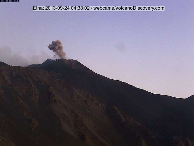 Ash emission from Etna's New SE crater this morning