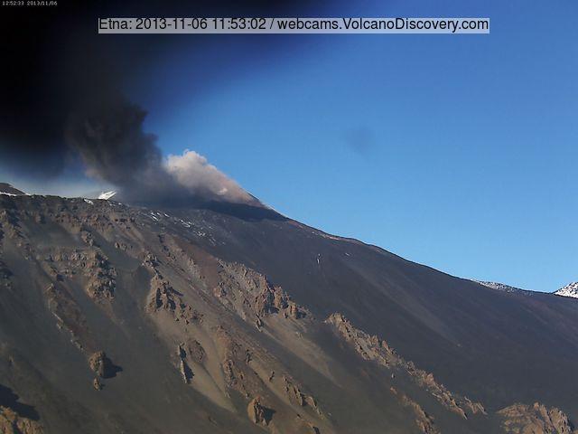 Ash emission from Etna's New SE crater