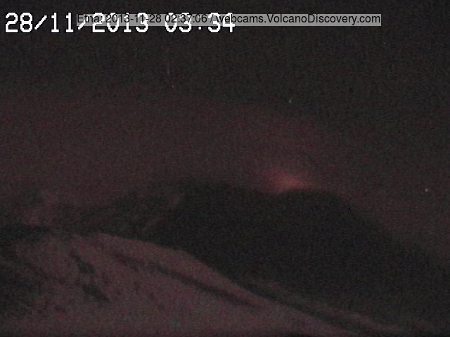 Glow from Etna's New SE crater at night