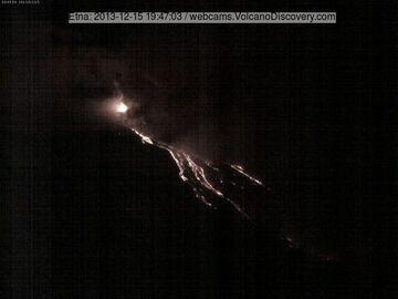 Lava flows into the Valle del Bove (Etna Trekking webcam)
