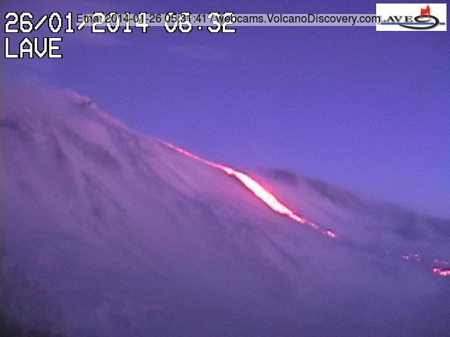 The lava flow from Etna's New SE crater this morning