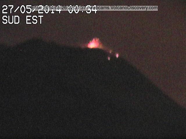 Stromboli explosie in Etna de NSEC (Radiostudio7 webcam)