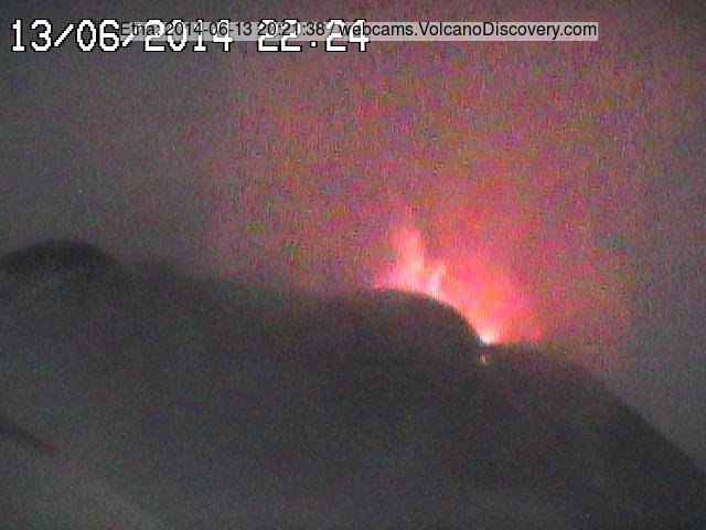 Strombolian explosion at Etna's NSEC this evening (Radiostudio7 webcam)