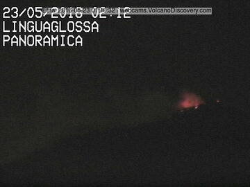 Strombolian explosion at NE crater earlier in the night